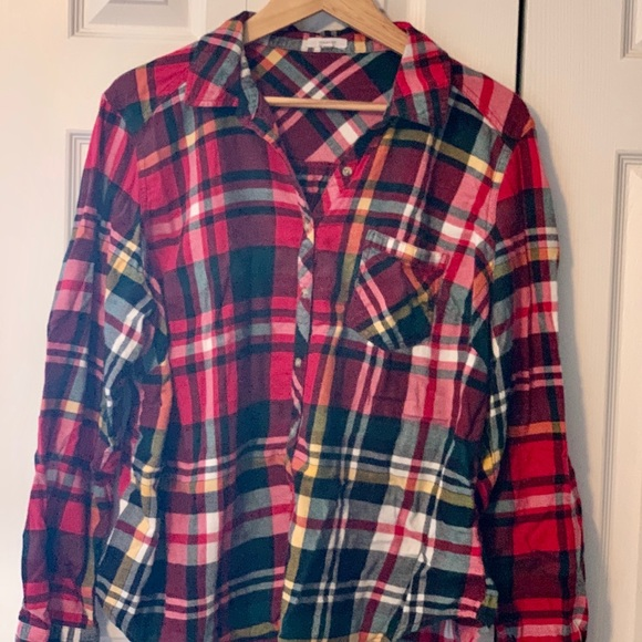 Red plaid flannel button up shirt (2X)